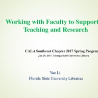 Working with Faculty to Support Their Teaching and Research